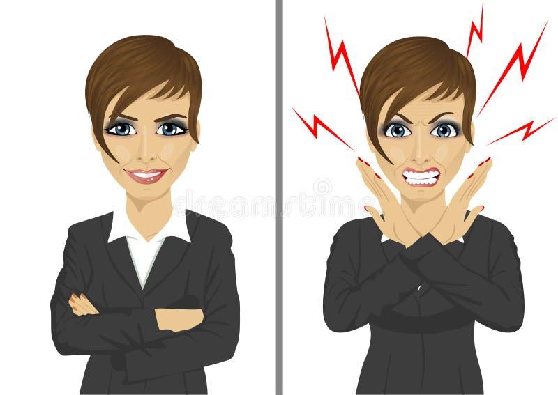 Jämförelse mellan ilskna och lyckliga uttryck av den samma affärskvinnan stock illustrationer