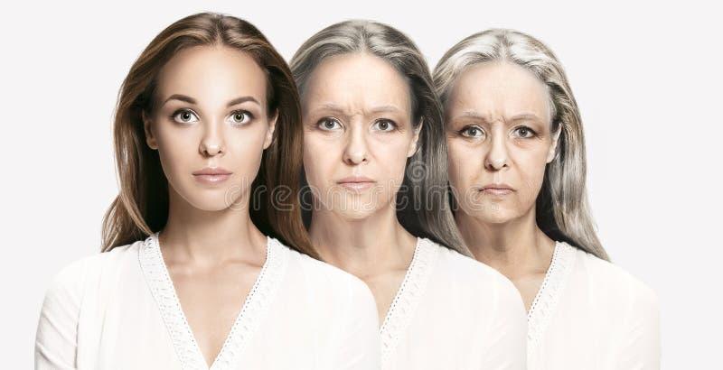 jämförelse Ståenden av den härliga kvinnan med problem och rengöringen flår, åldras och ungdombegreppet arkivfoto