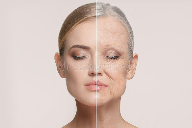 jämförelse Ståenden av den härliga kvinnan med problem och rengöringen flår, åldras och ungdombegreppet, skönhetbehandling royaltyfria foton