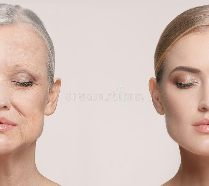 jämförelse Ståenden av den härliga kvinnan med problem och rengöringen flår, åldras och ungdombegreppet, skönhetbehandling arkivfoto