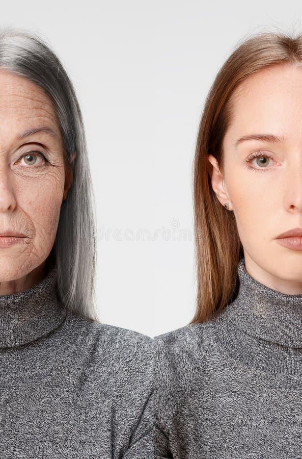 jämförelse Ståenden av den härliga kvinnan med problem och rengöringen flår, åldras och ungdombegreppet, skönhetbehandling royaltyfri fotografi