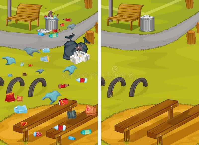 Jämförelsen av smutsigt och rent parkerar vektor illustrationer
