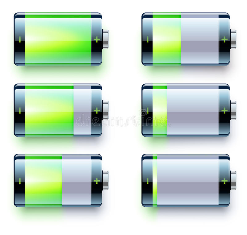 Jämna indikatorer för batteri vektor illustrationer