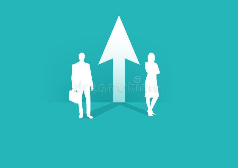 Jämställdhet mellan kvinnor och män Företagssamarbete och partnerskap Kvinnor och män som arbetar tillsammans mot ett gemensamt m royaltyfri illustrationer