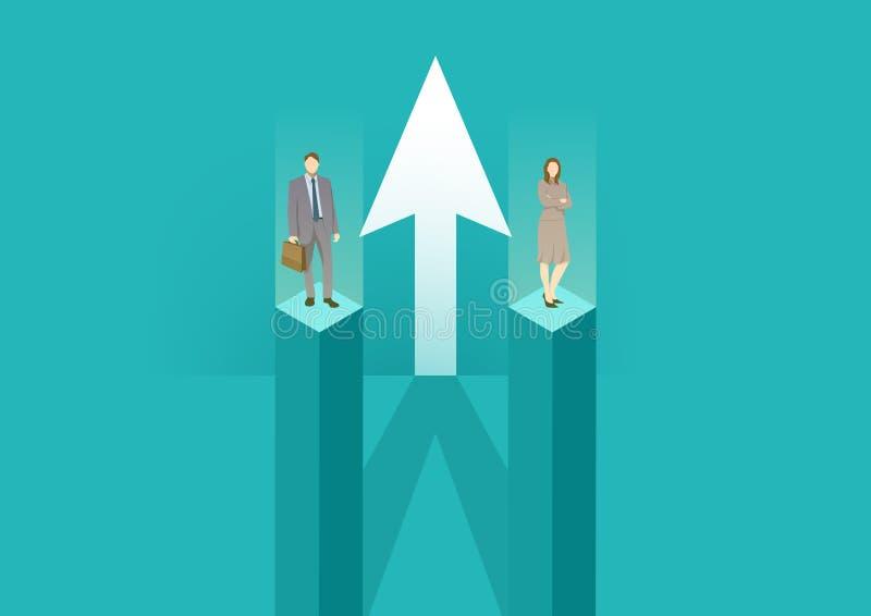 Jämställdhet mellan kvinnor och män Företagssamarbete och partnerskap Kvinnor och män som arbetar tillsammans mot ett gemensamt m stock illustrationer
