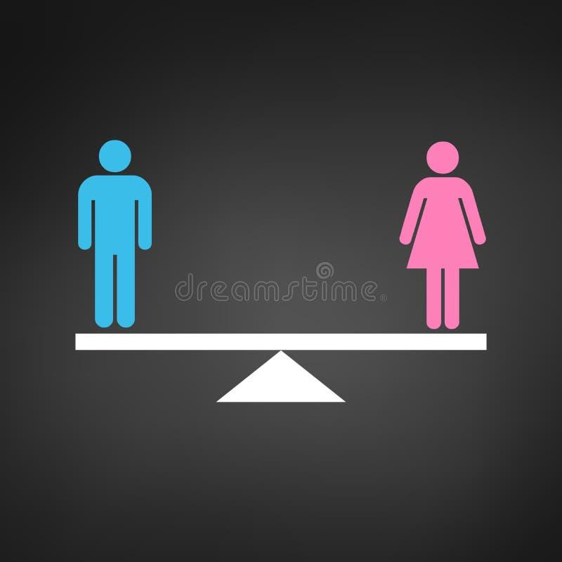 Jämställdhetbegreppssymbol Rosa färg- och blåttgenussymboler på våg Jämställdhetvektorillustration som isoleras på svart backroun vektor illustrationer