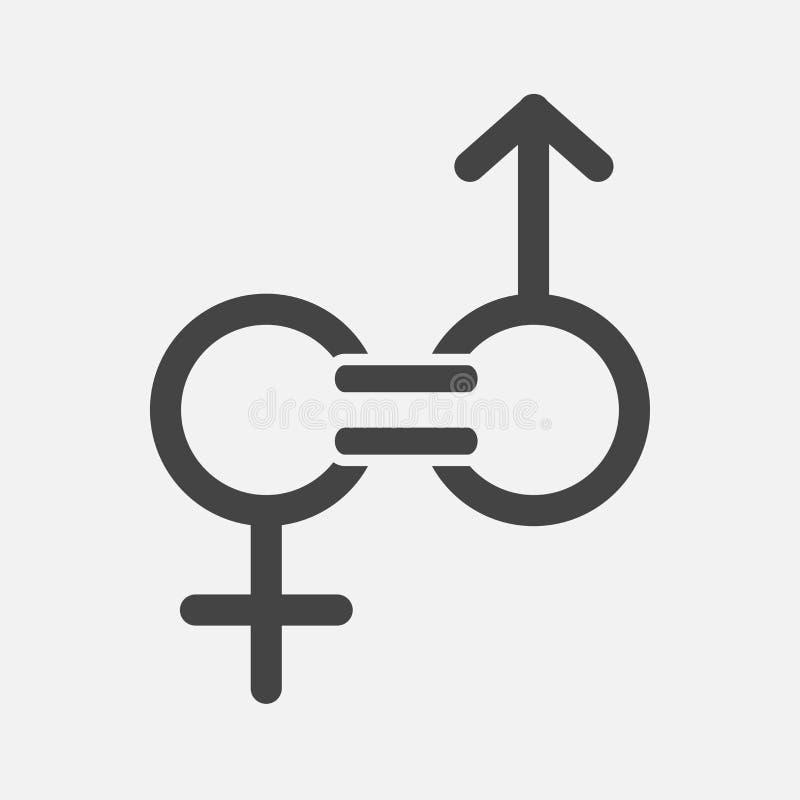 Jämställdhetvektorsymbol Tecknet av en man och kvinnan är jämbördiga royaltyfri illustrationer