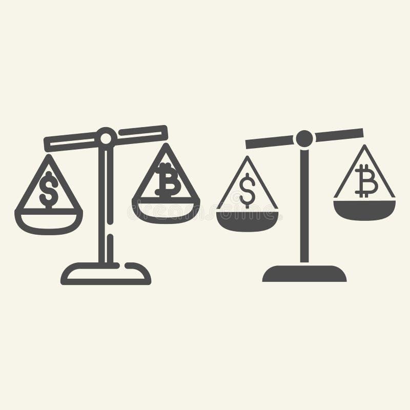 Jämvikt av pengar- och cryptocurrencylinjen och skårasymbolen Bitcoin och dollar på vågvektorillustrationen som isoleras på stock illustrationer