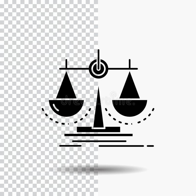 Jämvikt beslut, rättvisa, lag, skalaskårasymbol på genomskinlig bakgrund Svart symbol stock illustrationer