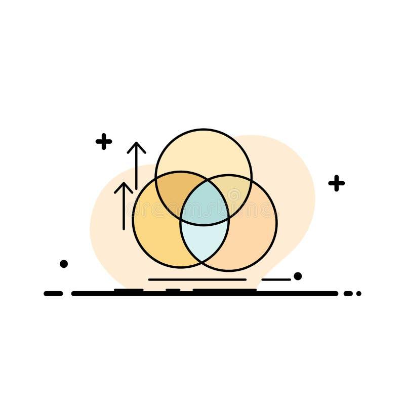 jämvikt cirkel, justering, mätning, för färgsymbol för geometri plan vektor vektor illustrationer