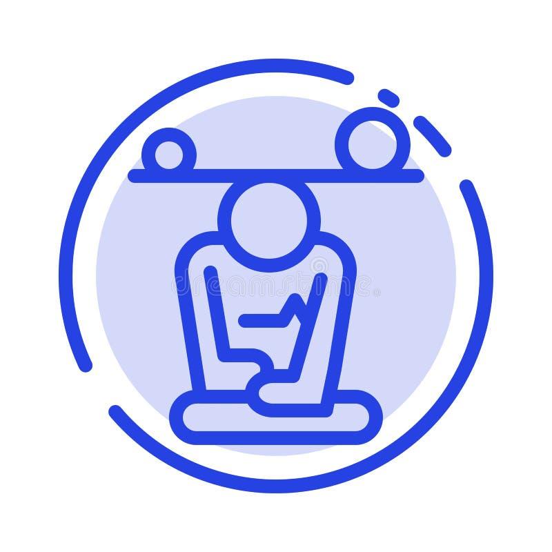 Jämvikt koncentration, meditation, mening, blå prickig linje linje symbol för Mindfulness vektor illustrationer