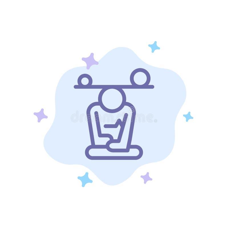 Jämvikt koncentration, meditation, mening, blå symbol för Mindfulness på abstrakt molnbakgrund stock illustrationer