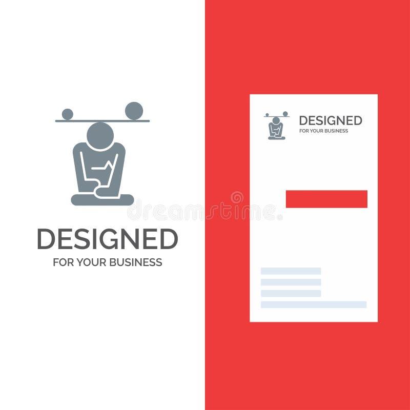 Jämvikt, koncentration, meditation, mening, Mindfulness Grey Logo Design och mall för affärskort stock illustrationer
