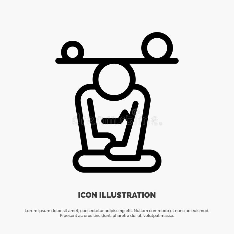 Jämvikt koncentration, meditation, mening, Mindfulnesslinje symbolsvektor stock illustrationer