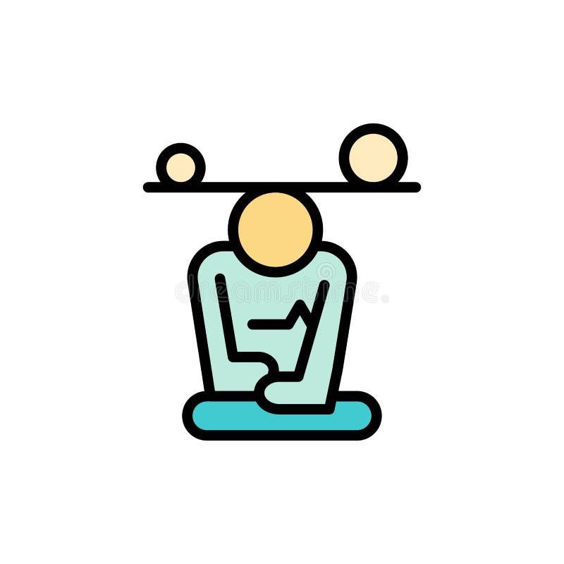 Jämvikt koncentration, meditation, mening, plan färgsymbol för Mindfulness Mall för vektorsymbolsbaner royaltyfri illustrationer