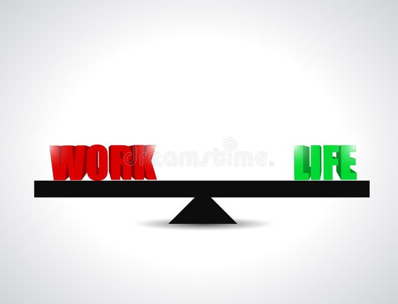 Jämviktsarbets- och livbegreppsillustration stock illustrationer