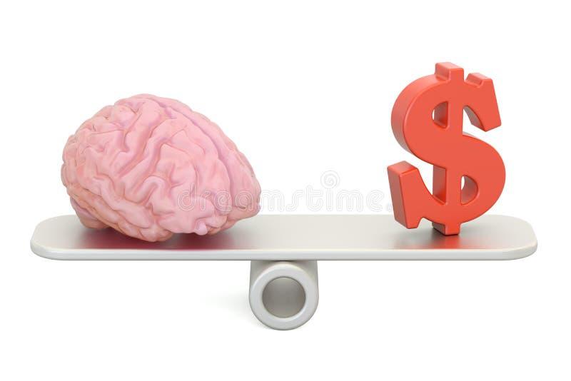 Jämviktsbegrepp, pengar och intellekt framförande 3d royaltyfri illustrationer