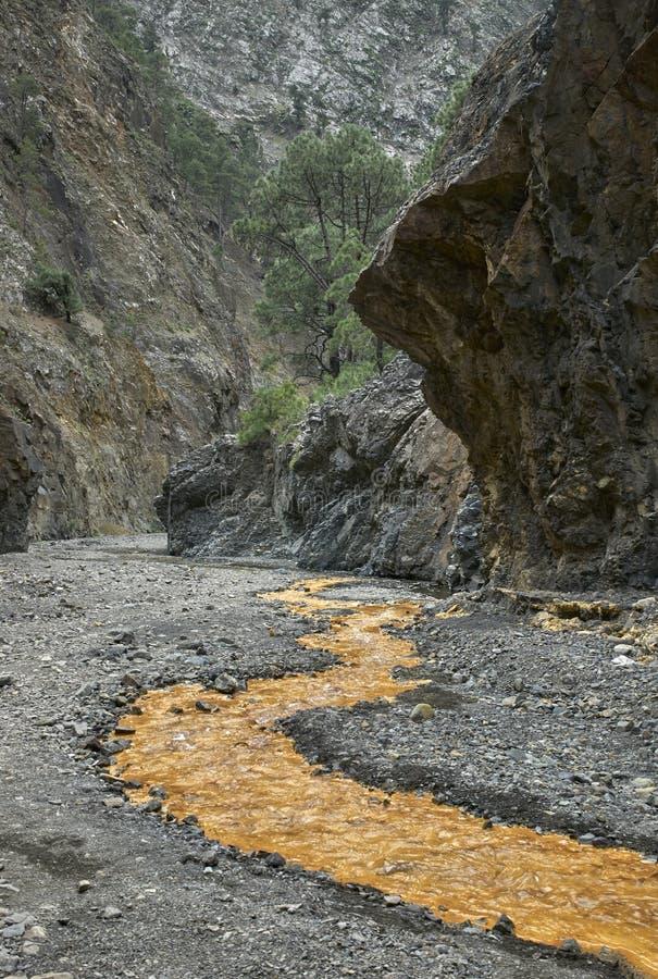 Järn-befläckt vatten i Taburiente arkivfoto