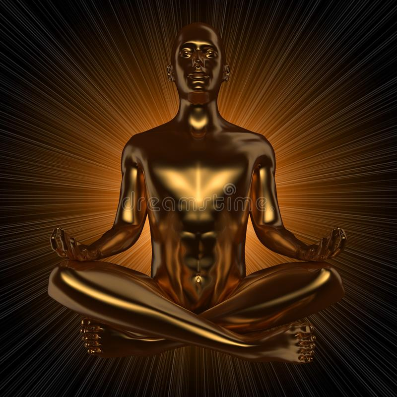 Järnmandiagramet yogalotusblomma poserar stiliserade pråliga strålar för guld- kroppenergi stock illustrationer