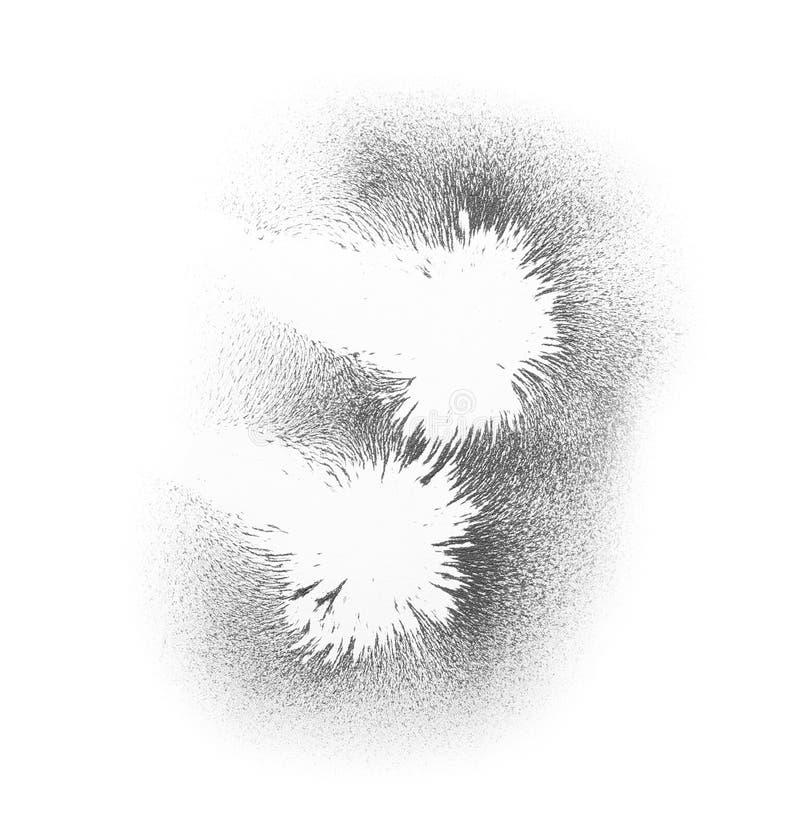 Järnpulver som visar magnetiska linjer på vit bakgrund royaltyfri illustrationer