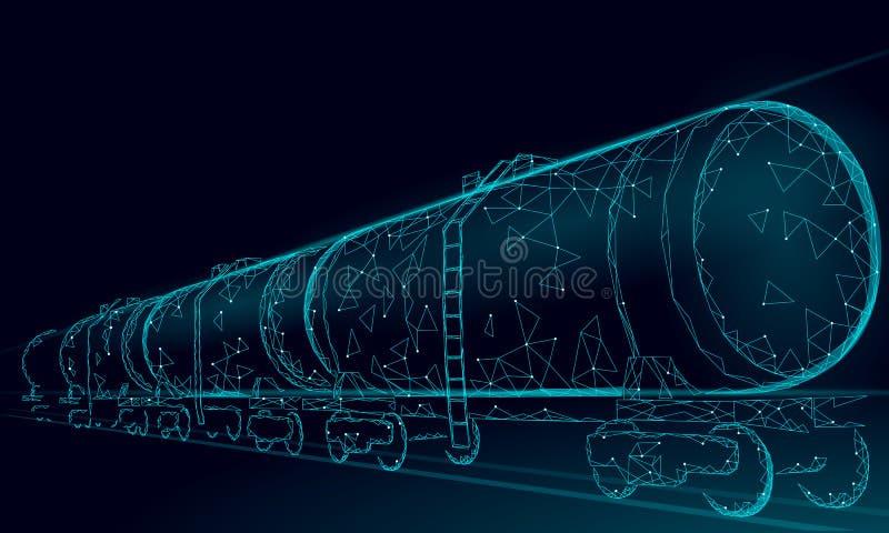 Järnväg cistern 3D för olja att framföra lågt poly Behållare för bransch för bränsleoljafinans diesel- Drev för cylinderjärnvägva stock illustrationer