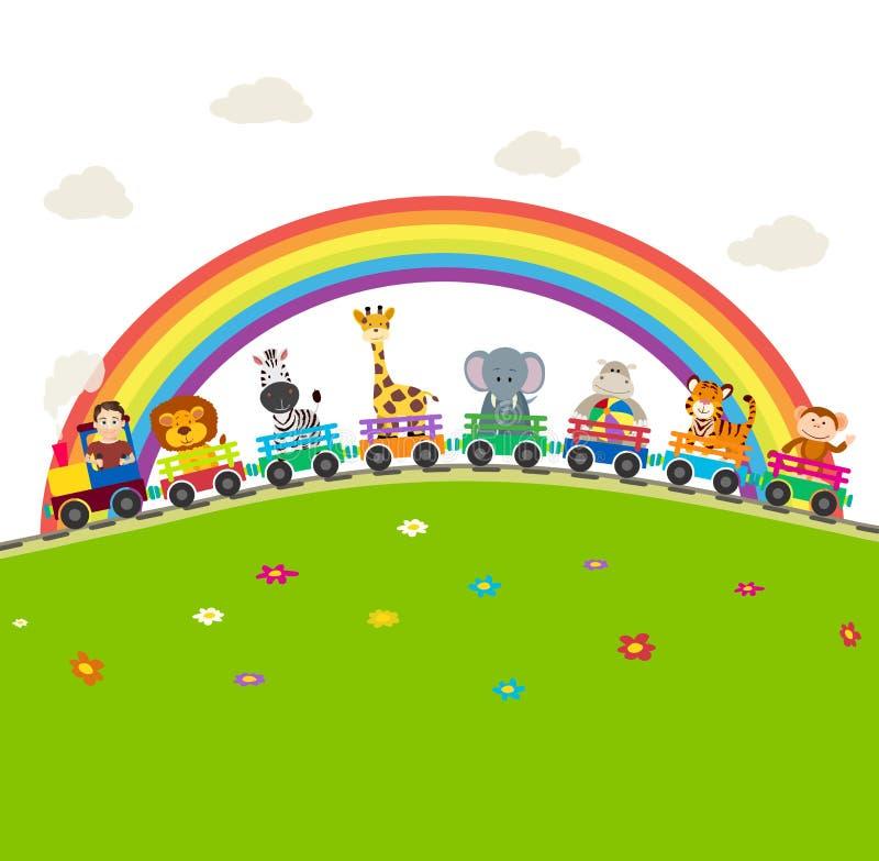 Järnväg drev för tecknad film med djungeldjur med regnbågen royaltyfri illustrationer