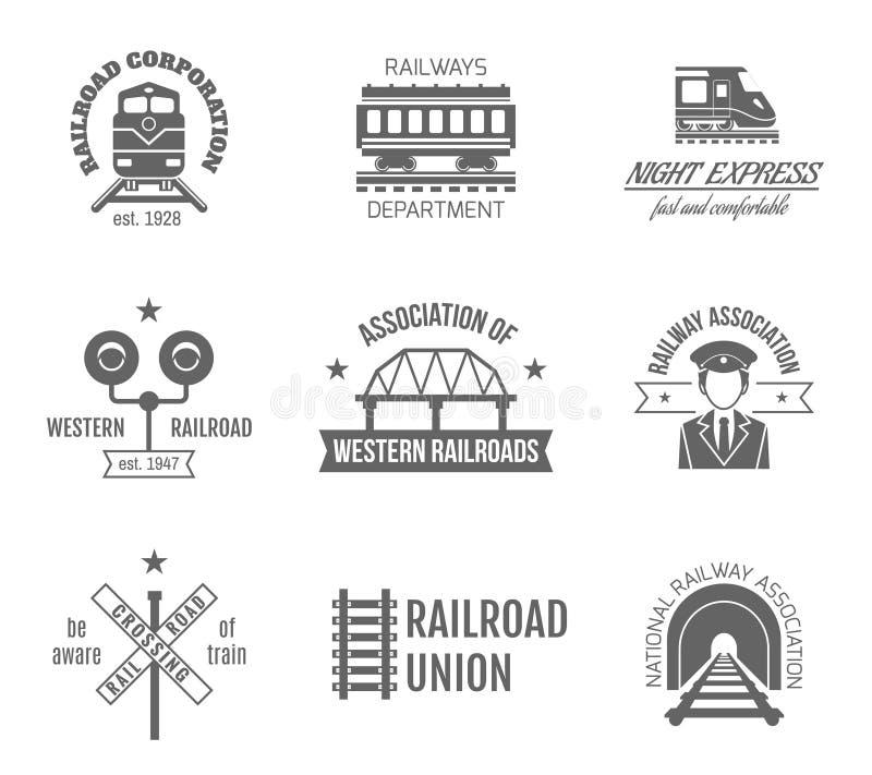 Järnväg etikettuppsättning vektor illustrationer