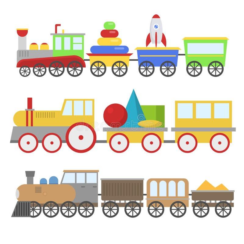 Järnväg för vektorn för tecknad filmleksakdrevet och tecknad filmvagnen spelar roligt trans. för lokomotivet för fritidglädjegåva vektor illustrationer