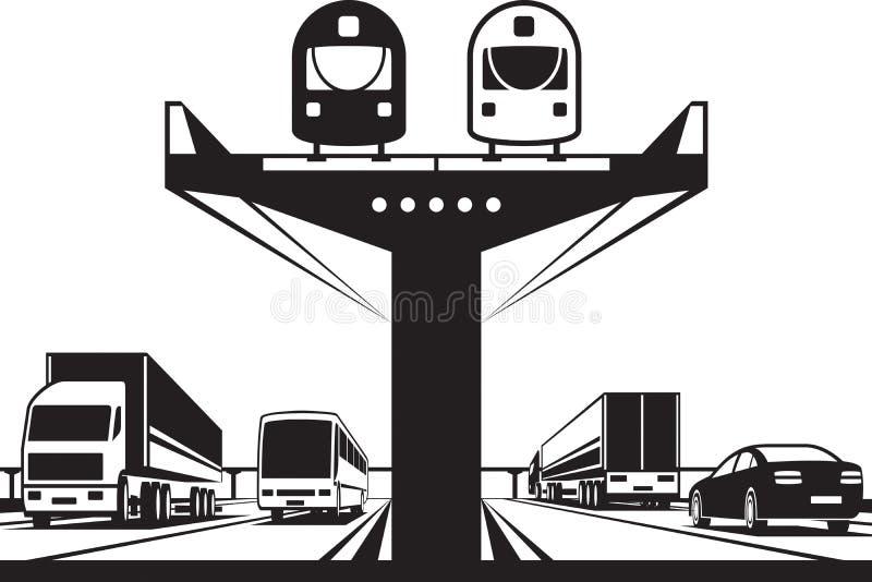Järnväg flygparad ovanför huvudvägen royaltyfri illustrationer