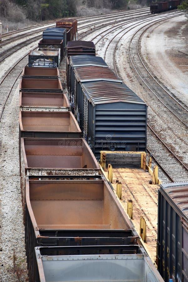 Järnväg fraktbilar arkivfoton