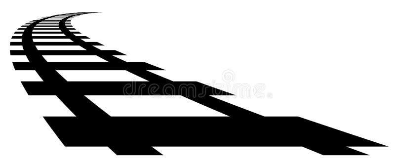 Järnväg järnvägkonturer med distorsionseffekt Drev som möts vektor illustrationer