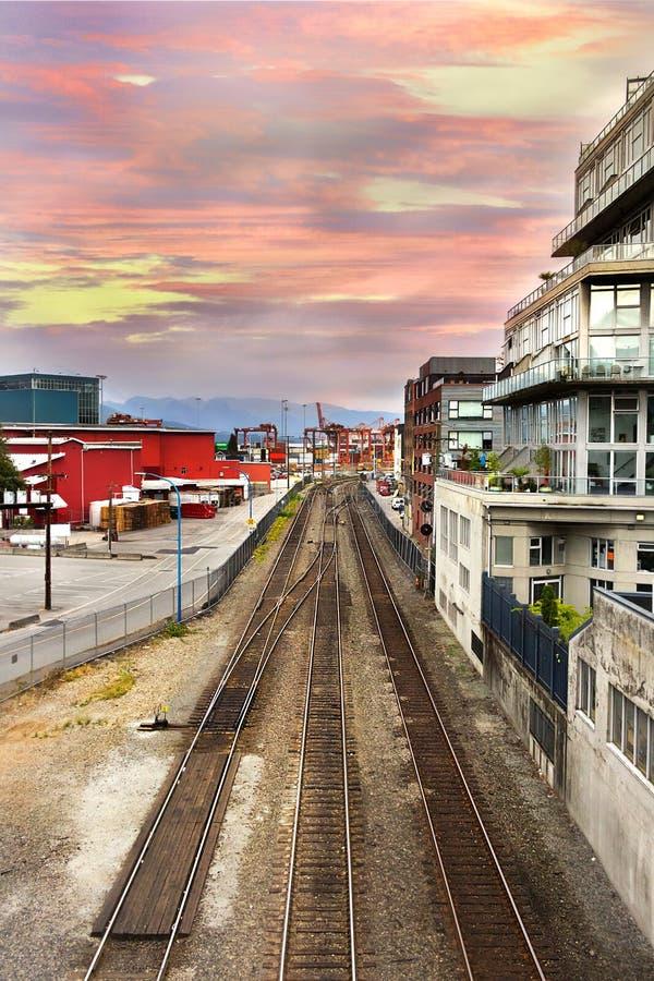Järnväg på strandvägen, Vancouver fotografering för bildbyråer