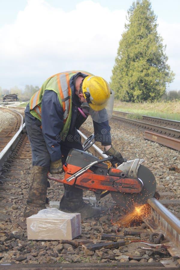 järnväg reparerande spår arkivbilder