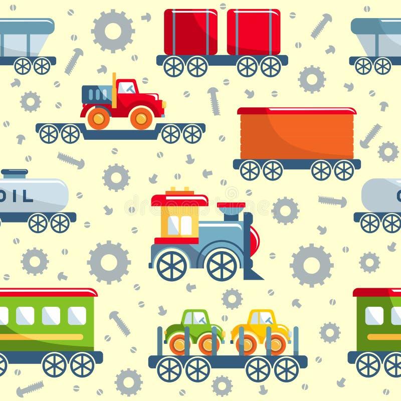 Järnväg sömlös modell för leksaker stock illustrationer
