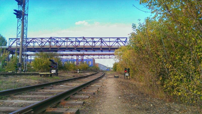 Järnväg siding arkivbilder