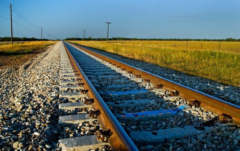 järnväg solnedgångspår royaltyfria foton