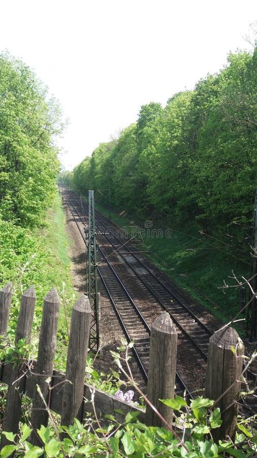 Järnväg staket royaltyfria foton
