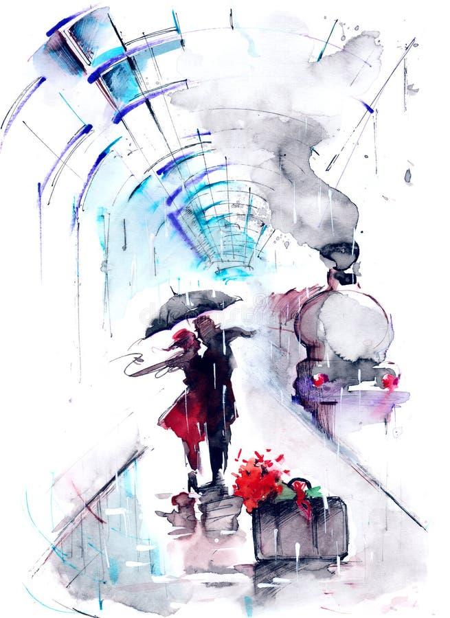 järnväg station stock illustrationer