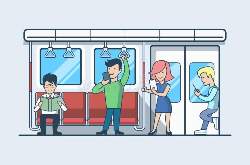 Järnväg vagnsvektor Transpo för linjärt plant folk stock illustrationer