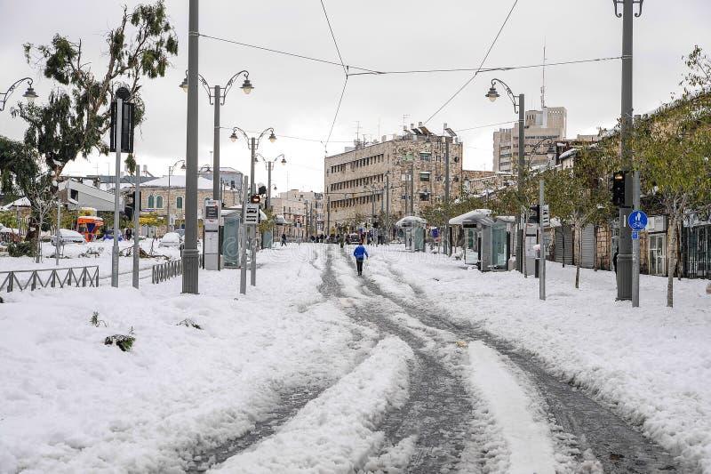 Järnvägar av den Jerusalem spårvagnen arkivbilder