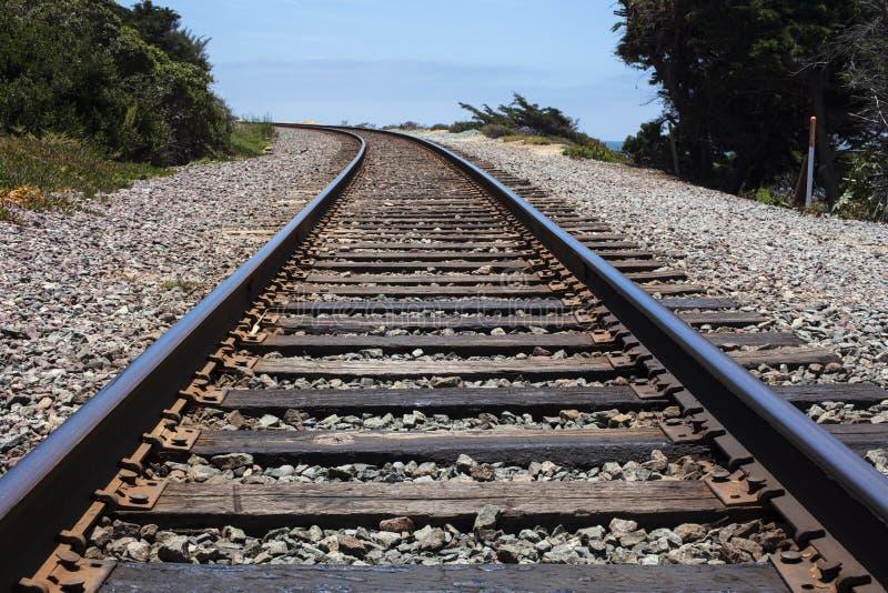 Järnvägband och spår som omges av buskaget arkivbild