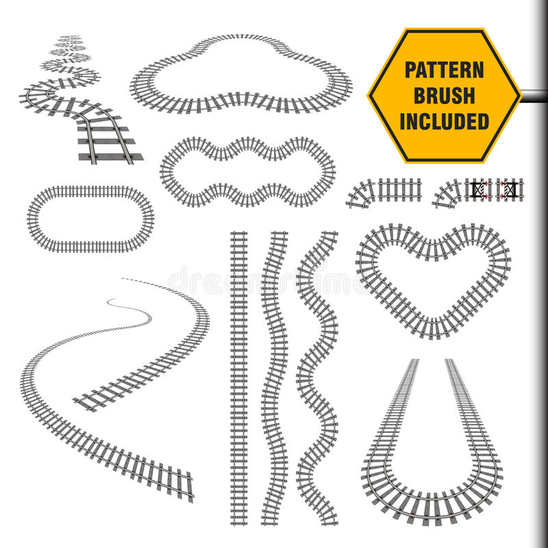 Järnvägbeståndsdeluppsättning stock illustrationer