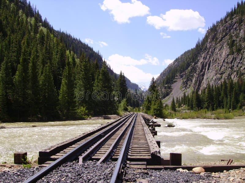 Järnvägbock över animasna arkivfoto