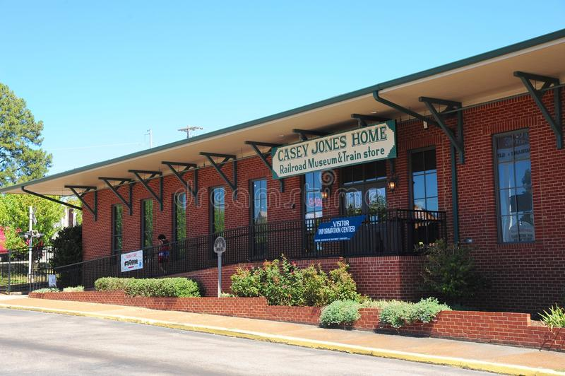 Järnvägmuseum och drevlager på Casey Jones Village, Jackson, Tennessee royaltyfri fotografi