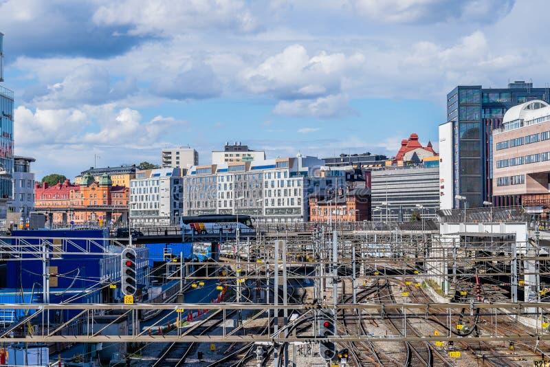 Järnvägsspår i Stockholm, Sverige arkivfoto