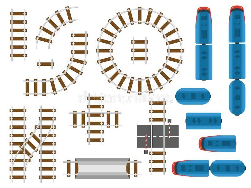 Järnvägsspår- och järnvägtransport för bästa sikt - drev, vagn och bil stock illustrationer