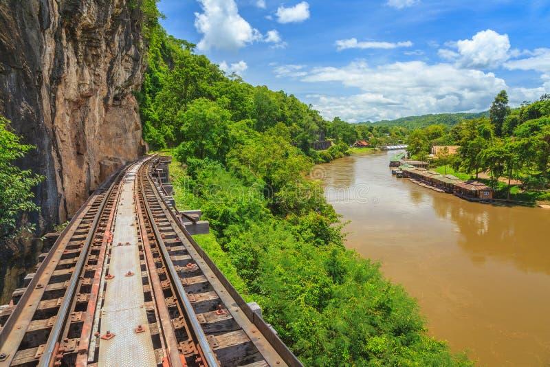 Järnvägsspår på Kanchanaburi Thailand arkivbilder