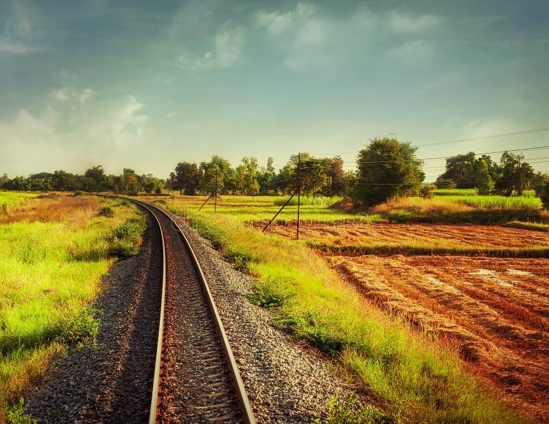 Järnvägsspår som korsar lantligt landskap royaltyfria foton