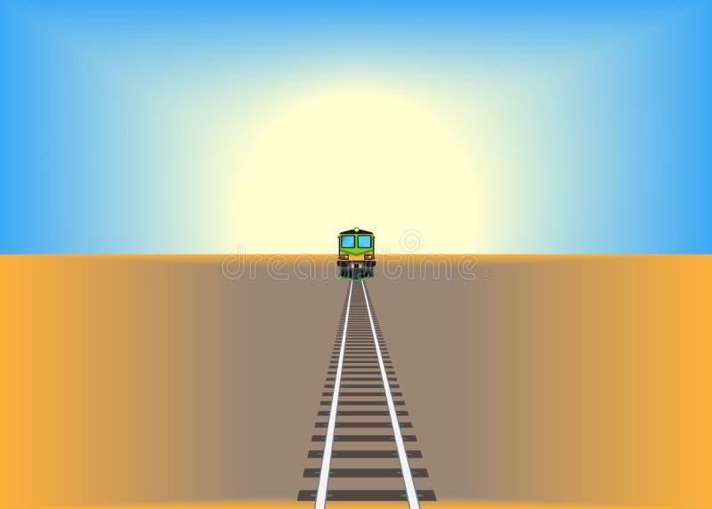Järnvägsspår som korsar torka i ett hårt ökenlandskap under ett dramatiskt nattligt solsken Begreppet global uppvärmning och reso stock illustrationer