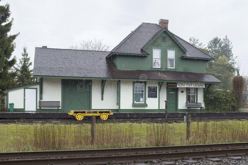 Järnvägsstation för CN för fortLangley arv arkivfoton